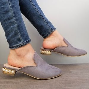 Suede Slip On Loafer Mule Pearl Accents on Heel-G